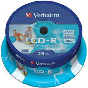 CD-R Verbatim Crystal / Super AZO 80min./700mb 52X  (Printable) - 25 бр. в шпиндел
